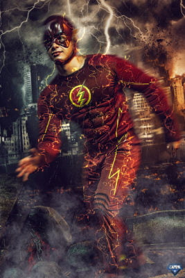 adult flash super hero photoshoot